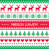 Nadolig Llawen - Merry Christmas in Welsh greetings card, seamless pattern