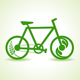Eco bicycle with green leaf stock vector