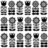 Finnish inspired seamless folk art pattern in black - Scandinavian, Nordic style