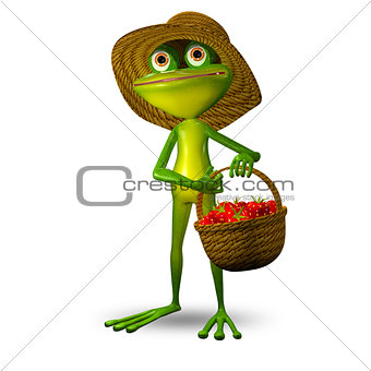 3d Illustration Frog with Strawberry