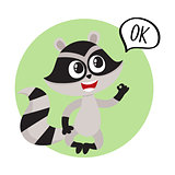Cute little raccoon character with OK word in speech bubble