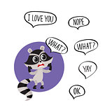 Little raccoon character unpleasantly surprised, asking What in speech bubble