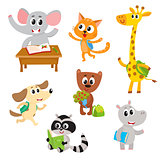 Cute little animal students, characters studying, reading, going to school