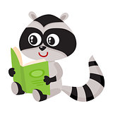 Cute little raccoon student character reading an interesting book