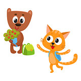Cute animal student characters, bear holding flowers, cat with backpack