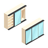Isometric built-in wardrobe with mirrors illustration
