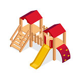 Isometric playground building element. Kids slide vector icon