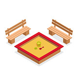 Isometric sandbox with toys and benches. Outdoor furniture vecto