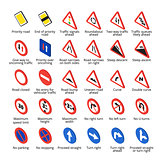 Isometric european traffic signs. Vector road icons collection.