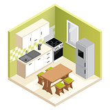 Miniature apartment kitchen vector illustration