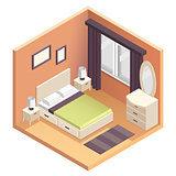 Isometric bedroom interior design illustration