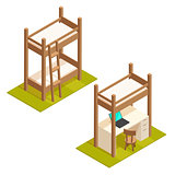 Isometric bunk bed and loft bed illustration.