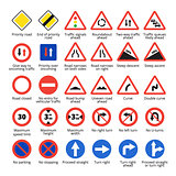 European traffic signs. Vector road icons collection.
