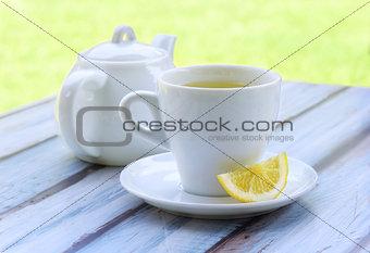 Green tea with lemon.