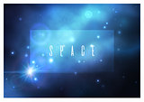 Vector space background with bright blue nebula and white stars.