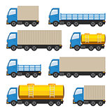 Flat set of trucks.