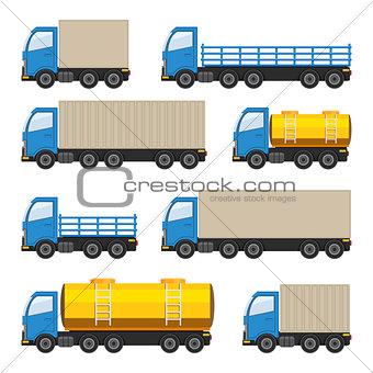 Flat set of trucks.
