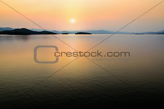 Beautiful lake at sunset