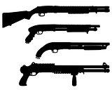 Black silhouettes of  shotguns