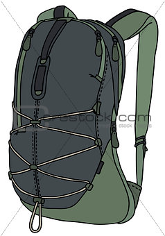 Green and gray travel backpack