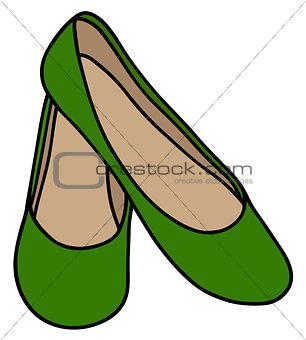Classic green ballerinas