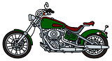 Green heavy motorbike