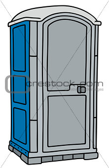 Blue and gray mobile toilet