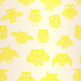 Light yellow owl seamless pattern
