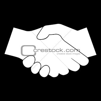 Business handshake the white color icon .