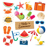 Summer sticker icon set flat design. Can be used for banner, bad