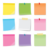 Sticky note colored sheets isolated on white background