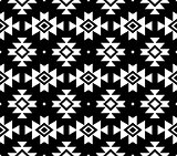 Aztec vector pattern, Tribal background, Navajo design in white on black background