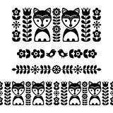 Scandinavian folk art pattern - black long stripe, seamless background, Finnish inspired, Nordic style