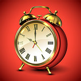 Red retro style alarm clock on red background.