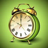 Green retro style alarm clock on green background.