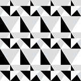 Geometric seamless pattern - abstract black and white shapes, illustration background