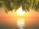 3D tropical landscape at sunset
