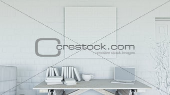 3D office with blank canvas on brick wall