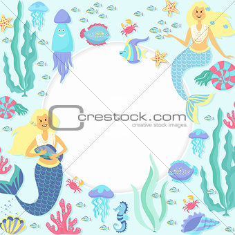 Greeting banner on the marine theme. Cute mermaids, seashells, marine animals.
