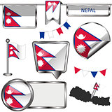 Glossy icons with flag of Nepal