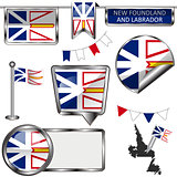 Glossy icons with flag of province Newfoundland and Labrador