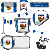 Glossy icons with flag of province Northwest Territories