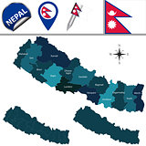 Map of Nepal with Zones