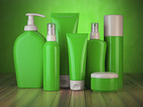 Set of green cosmetic products.  Cosmetic series of different da