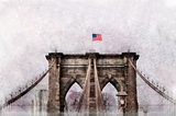 American flag Brooklyn Bridge in New York Artistic photo