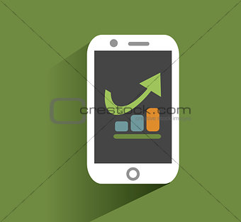 Smart phone with increasing bar chart on the screen. Using smartphone similar to iphone for business, flat design concept.  vector.