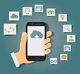 Concept of cloud services on mobile phone such as storage, computing, search, photo album, data exchange.