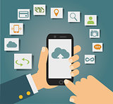 Vector concept of cloud services on mobile phone such as storage, computing, search, photo album, data exchange.