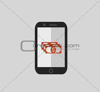Flat phone finance illustration