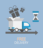 free delivery concept in flat style - truck with gift